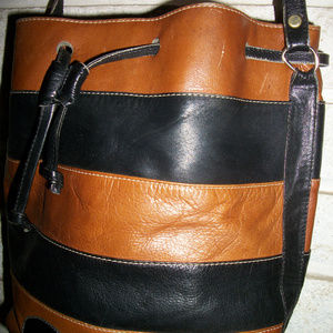 Vintage HARA COlumbian Leather bucket purse